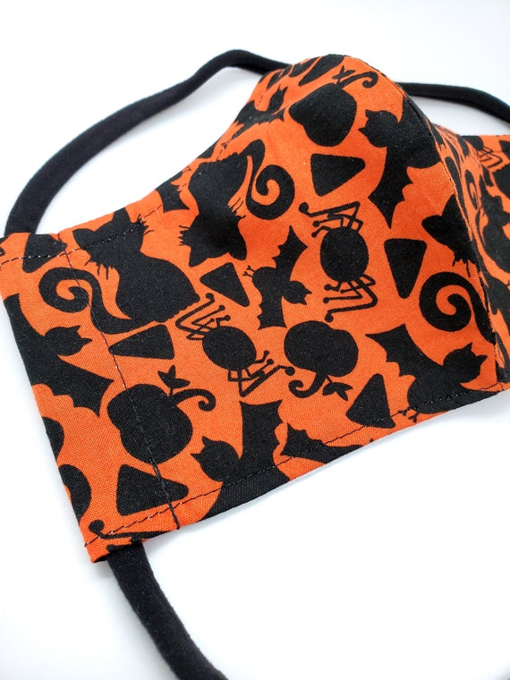 Washable Cotton Fitted Face Mask With Filter Pocket and Nose Wire- Classic Halloween