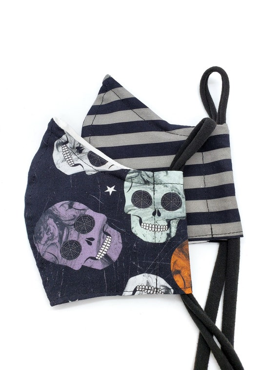 Skulls and Stripes Halloween Face Mask- Washable, Fitted, Nose Wire, Filter Pocket