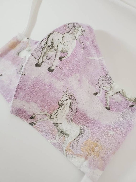 Fashionable, Washable Fitted Face Mask With Filter Pocket and Nose Wire- Glitter Unicorn