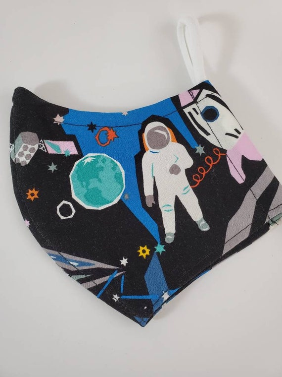 Fashionable, Washable Fitted Face Mask With Filter Pocket and Nose Wire- Outer Space