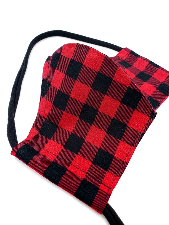 Buffalo Plaid Face Mask- Washable, Fitted, Nose Wire, Filter Pocket