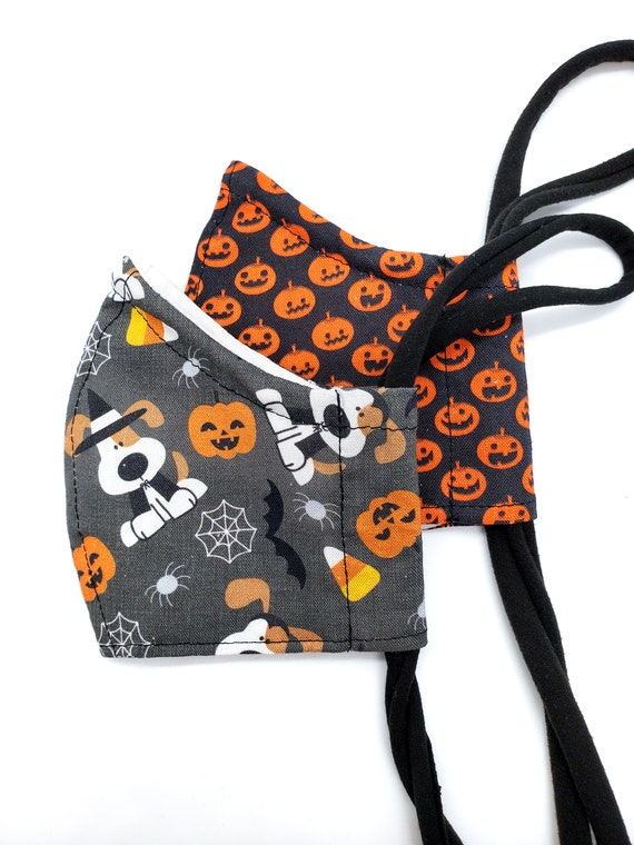 Kids Halloween Face Mask- Washable, Fitted, Nose Wire, Filter Pocket