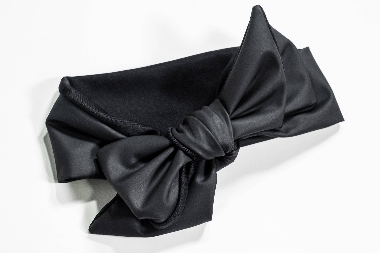 Black Vinyl Oversized Baby Head Wrap With Organic Cotton