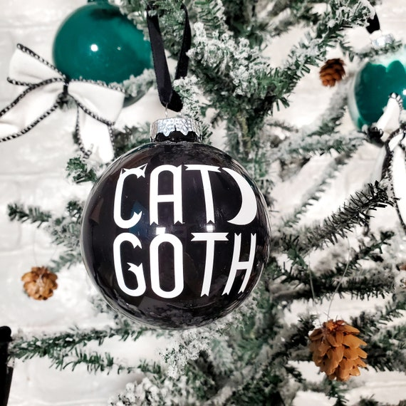Cat Goth Glass Holiday Ornament