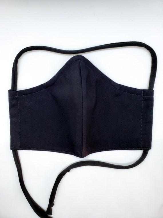 Washable Cotton Contoured Face Mask With Filter Pocket and Nose Wire- Solid Black