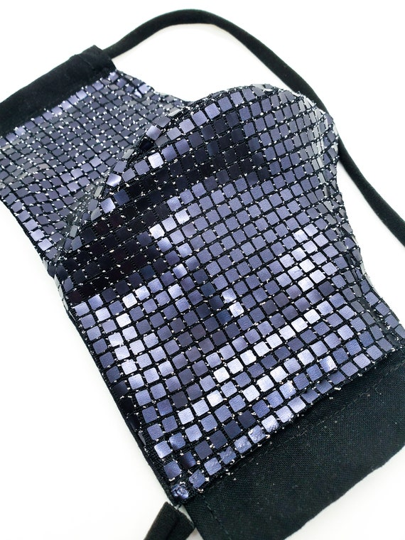 Fashionable, Washable Fitted Face Mask With Filter Pocket and Nose Wire- Black Holographic Grid- Sequin