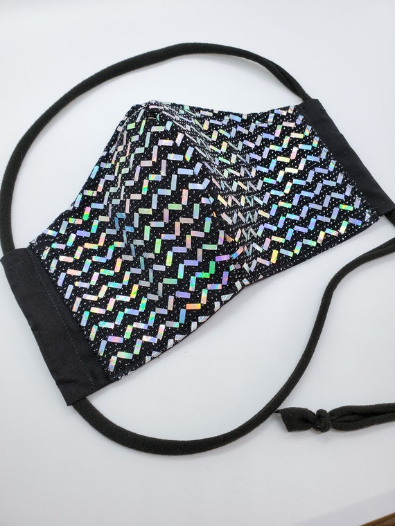 Fashionable, Washable Fitted Face Mask With Filter Pocket and Nose Wire- Black Holographic Chevron Sequin
