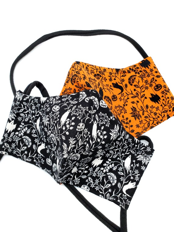 Halloween Fall Face Mask- Washable, Fitted, Nose Wire, Filter Pocket