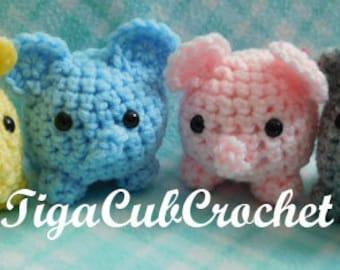 Crochet Mini Elephant Zoo Animal Cute Baby Shower Gift Amigurumi Plush Made To Order