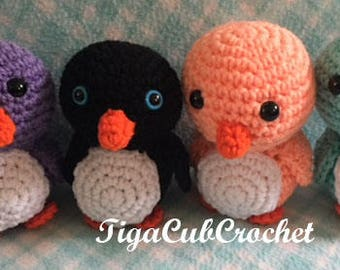 Crochet Small Black, White and Orange Penguin Bird Aquarium Zoo Animal Cute Amigurumi Plush Made To Order
