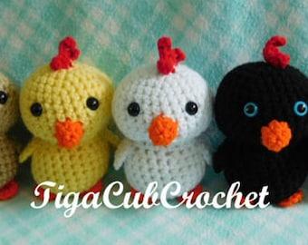 Crochet Small Chicken Chick Bird Farm Animal Cute Amigurumi Plush Made To Order