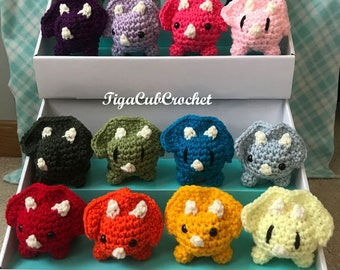 Crochet Mini Triceratops Dino Dinosaur Cute  Animal Amigurumi Plush Made To Order