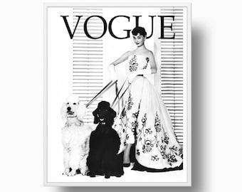 Vogue Audrey Hepburn, Vogue Print, Vogue Cover Audrey Hepburn, Poodles, Paris Fashion, Chanel Fashion, Vogue Poster, Black and White Print,