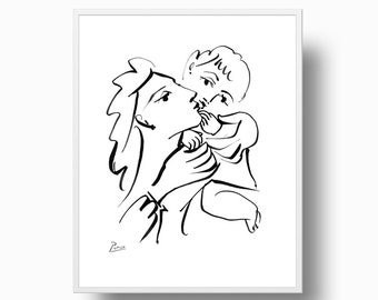 Picasso Print Mother Child, Picasso Sketches, Picasso Mother and Child Print, Picasso Minimalist Printable Download, Picasso Mère Et Enfant