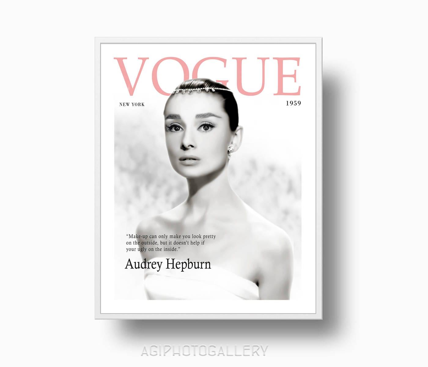 Audrey Hepburn Vogue Mode-Druck Vintage Vogue Cover Druck   Etsy