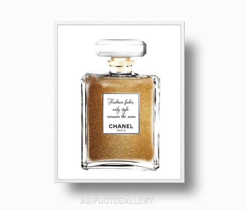 Gold Chanel Parfüm Flasche Chanel Zitat Mode Verblasst Stil Bleibt Parfüm Flasche Druckbare Download Paris Chanel Gold Zitat Druck 291