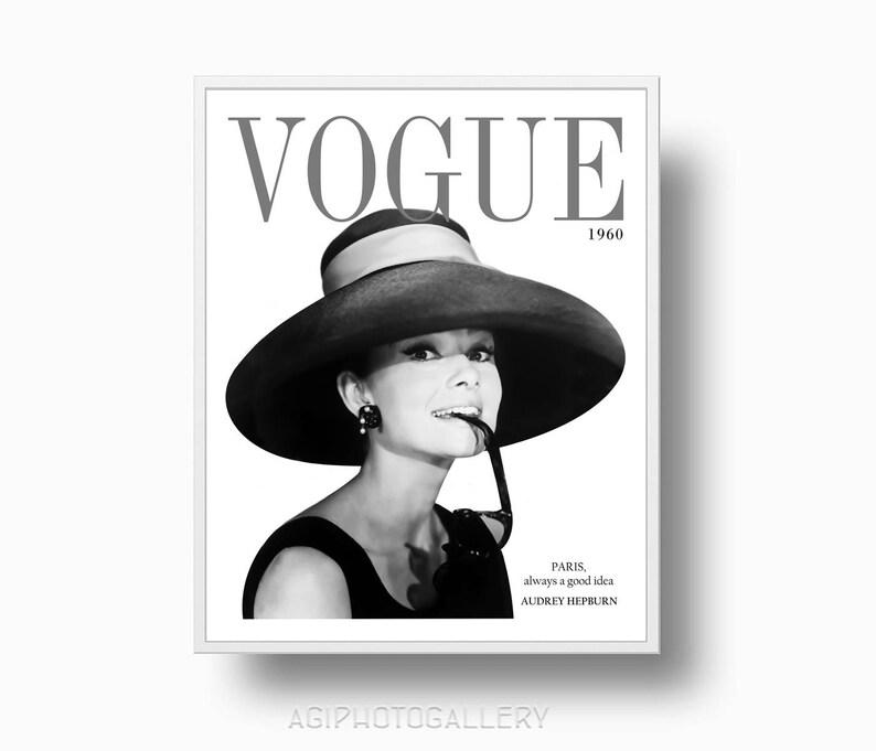 Vogue 1960 Audrey Hepburn stampa stampa di moda Vogue Cover  9f3e7b3b3472