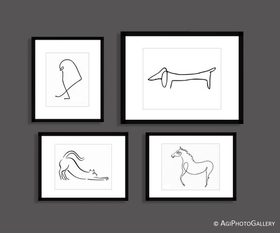 Picasso Animal Line Art Set Picasso Dog Cat Horse Sparrow