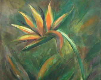 "Bird of Paradise, Original Oil Painting on Canvas, 18x18"" by Gina De Gorna"
