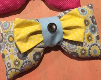 Adult Aromatherapy Lavender Eye Mask ~ Yellow/Blue Floral, Bright Yellow Pola Dot, & Solid Lt. Blue