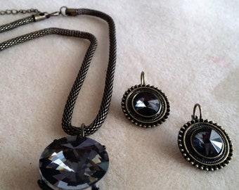 Elegant 2 piece: Smokey Black Glass Crystal Necklace and Earrings (SKU #UVF2PP511)