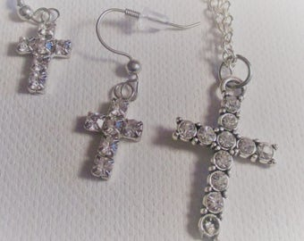 Clear Crystal Cross Necklace and Earrings (SKU #UVF2PR102)