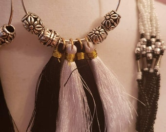 Double layered white and black beaded Necklacet and pair of tassel Earrings (SKU #UV3P1004)