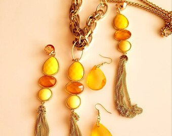Yellow, Orange and Gold Bead Tassel Pendant necklace with two pair of matching Earrings (SKU #UV3P615)