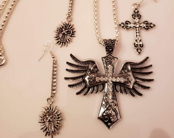 Statement Necklace Silver cross with wings and two cross earrings (drop earrings and dangle earringss) Handmade (SKU #UV2P615)