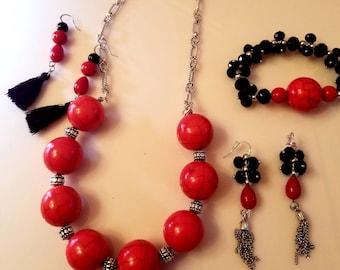 Red Black large bead Silver Necklace. Black Tassel Earrings. Silver Chain Tassel Earrings. Black Red bead bracelet (SKU #UV4P800)
