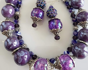 Layered Necklace in Purple and Silver with matching drop earrings Handmade (SKU #UV2P615)