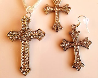 Crystal Cross Pendant Necklace with matching Earrings (SKU #UV2P630))