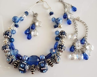 Layered Necklace in Blue, Clear and Silver with matching dangling earrings Handmade  (SKU #UV2P615)