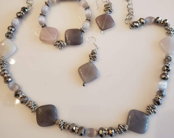 Beaded Necklace, drop earrings and beaded bracelet Charcoal, silver and light gray made with precious stones Handmade (#UVP3905)