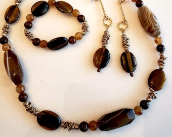 Beaded necklace, Dangle earrings and beaded bracelet made with Brown and Copper Semi-precious stones Handmade (SKU #UV3P903)