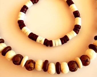 Men's Brown, Cream and Beige Necklace and Bracelet (SKU #UV2M206)