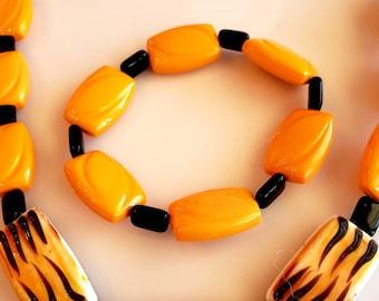 Men's Beaded Jewelry Set. Square Beaded Black and Orange Necklace. Square Orange bead and Oval Black Beaded Bracelet (SKU #UVM106VM245)
