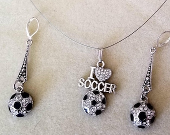Soccer Lovers Necklace and Earrings (SKU #UVF2PP125)