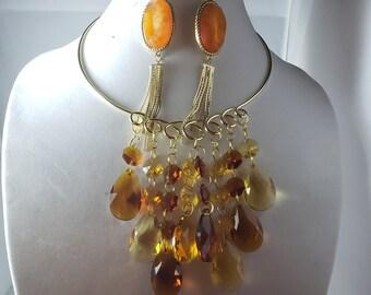 Dark Amber Golden Yellow dangling teardrop pendant; gold Choker; Dark Amber tear drop dangling earrings; oval orange rings (SKU# UV3P1018)