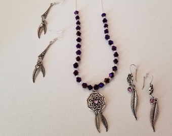 Silver and Amethyst Beaded Necklace and Earrings (SKU #UVF2PP206)