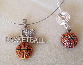 Love of Basketball necklace and Earrings (SKU #UVF2PP122)