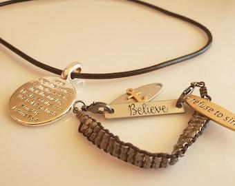 men's Psalms 93:4 silver pendant black rope necklace; believe, refuse to sink pendant bracelet (SKU# UV2PM1004)