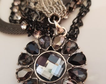 Smoke Crystal Multi-layer Necklace with smoked fan shaped Earrings (SKU #UV2P505 )