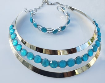 Baby blue crystals, silver choker. silver woven metal bracelet with baby blue and crystals (SKU# UV2P1005)