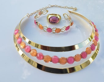 Pink, Peach crystals, gold choker. gold woven metal bracelet with pink and peach crystals; pink oval gold ring  (SKU# UV3P1007)