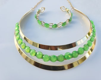 Lime green crystals, gold choker. gold woven metal bracelet with lime green and crystals (SKU# UV2P1006)