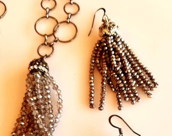 Beaded Tassel Pendant Necklace with matching Earrings (SKU #UV2P631)
