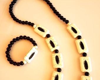 Men's Beaded Black and Cream Leaf Necklace and Bracelet (SKU #UV2M300)