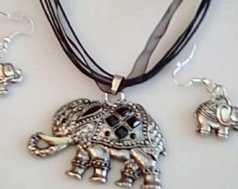Silver and Black Elephant Pendant on black nylon choker (SKU #UVF2PP717)