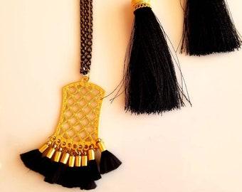 Gold Criss Cross Black tassel Pendant. Black Chain Necklace Black Tassel Earrings. Gold Cap Earrings. (SKU #UV2P925)